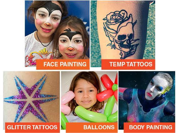 face painting melbourne - services face painting, temporary tattoos, body painting