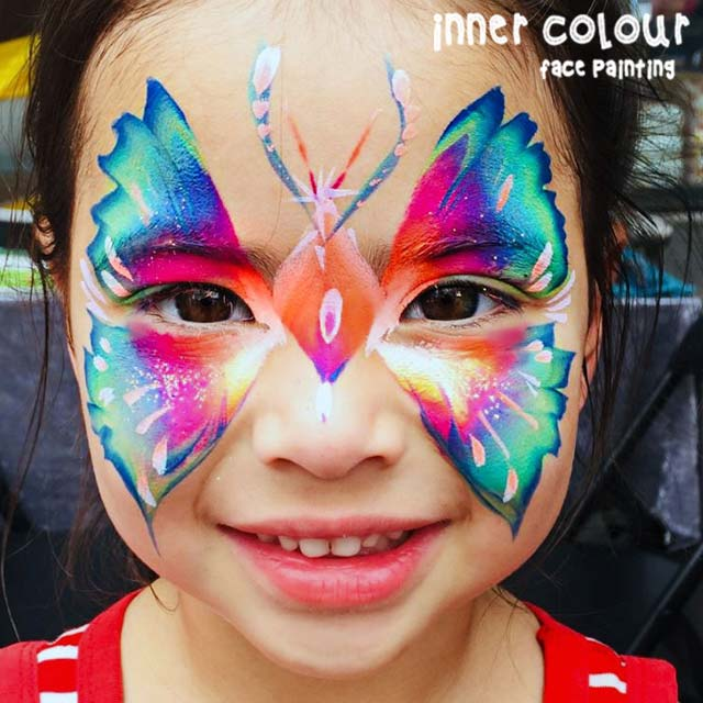 Rainbow Butterfly Face Paint | Inner Colour Face Painting | Face Painting Melbourne