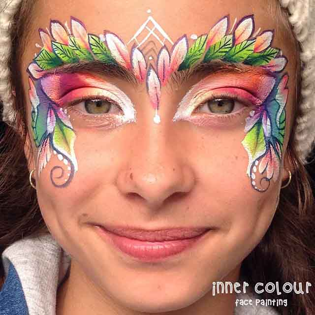 Flower Rainbow Crown Face Paint | Inner Colour Face Painting | Face Painting Melbourne