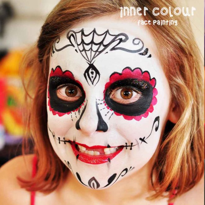 Sugar Skull Face Paint | Inner Colour Face Painting | Face Painting Melbourne