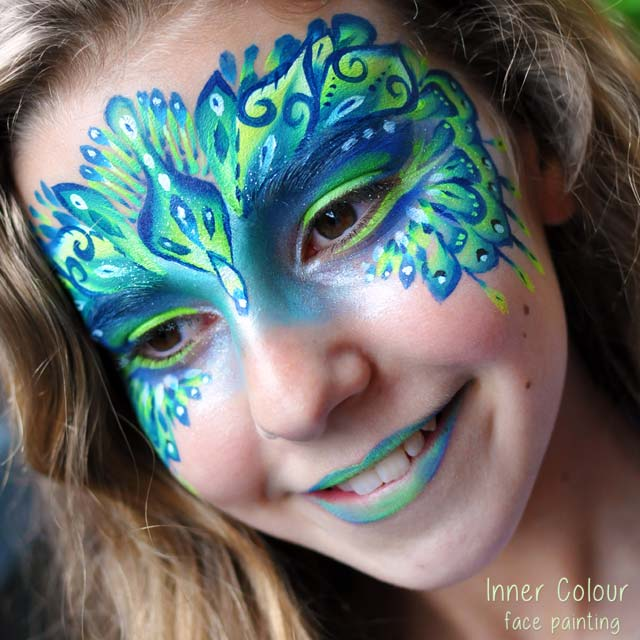 Peacock Face Paint | Inner Colour Face Painting | Face Painting Melbourne