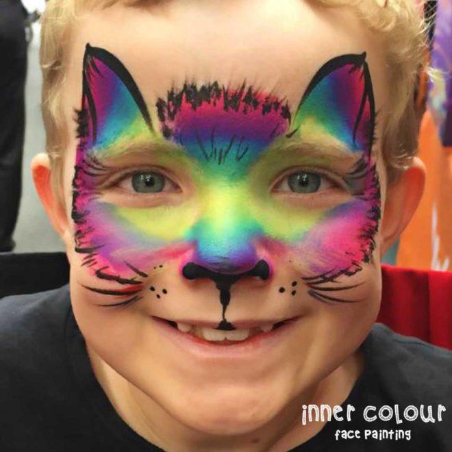 rainbow car boy face paint face painting melbourne