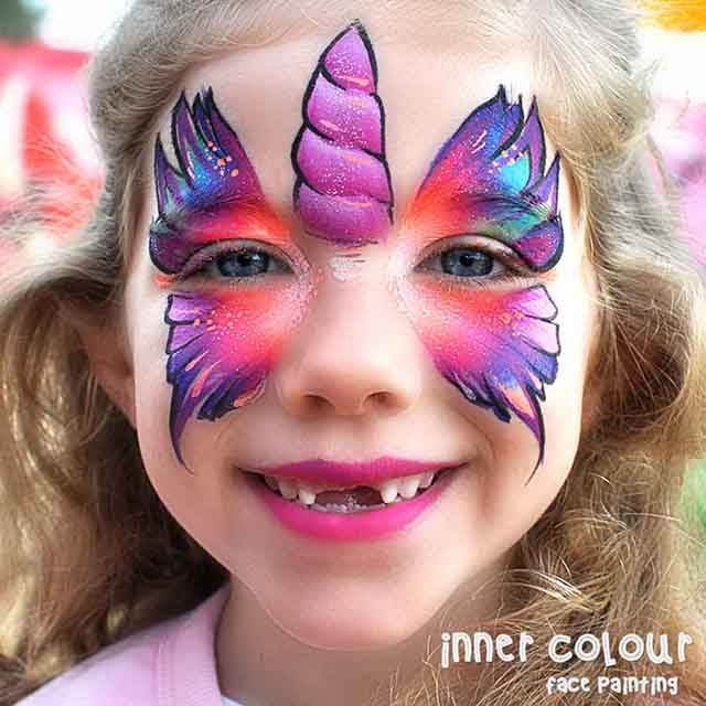 Unicorn Butterfly Face Paint | Inner Colour Face Painting | Face Painting Melbourne