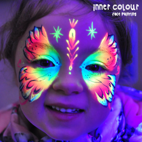 UV Butterfly Face Paint | Inner Colour Face Painting | Face Painting Melbourne