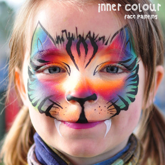 Rainbow Tiger Face Paint | Inner Colour Face Painting | Face Painting Melbourne