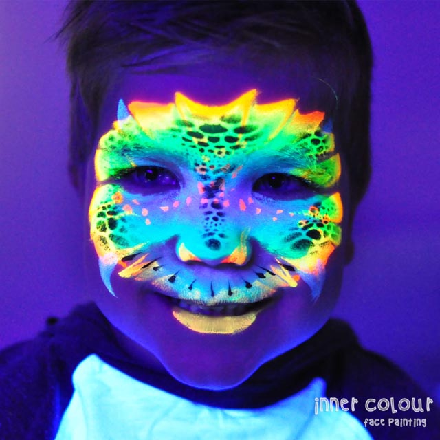 UV Dinosaur Boy Face Painting Melbourne Inner colour