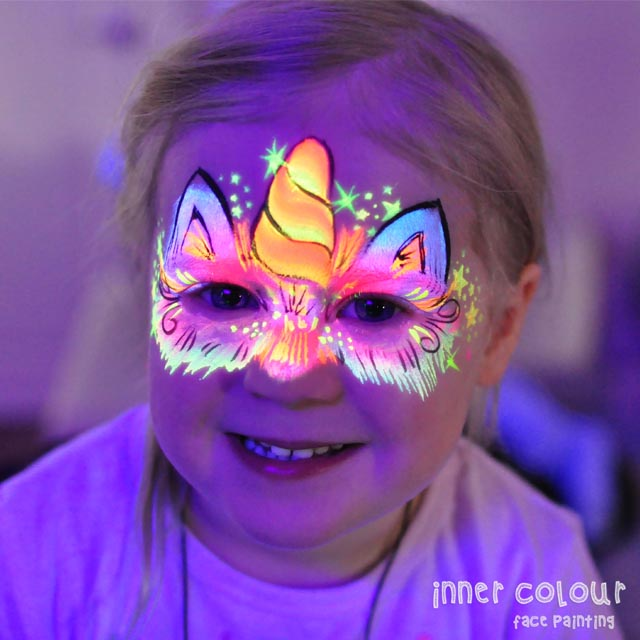UV Unicorn Face Paint | Inner Colour Face Painting | Face Painting Melbourne